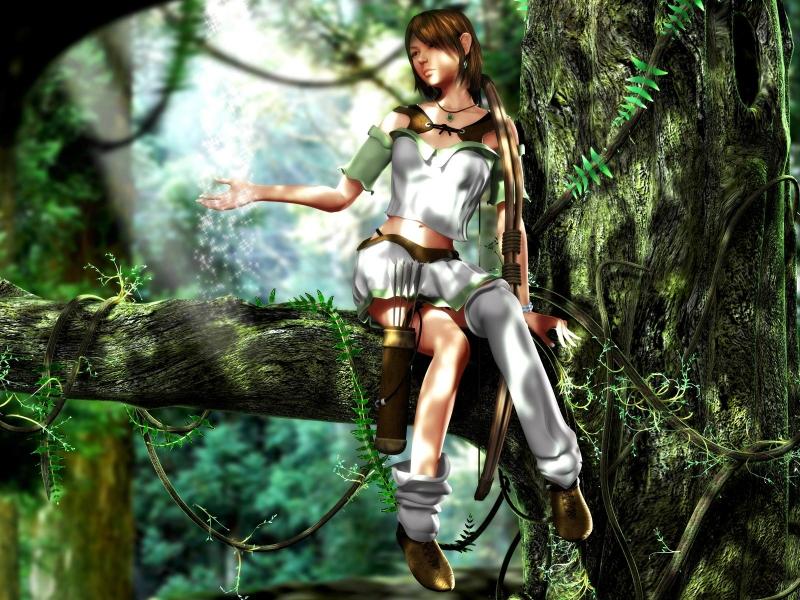 Девушка с луком на дереве - Обои для рабочего стола